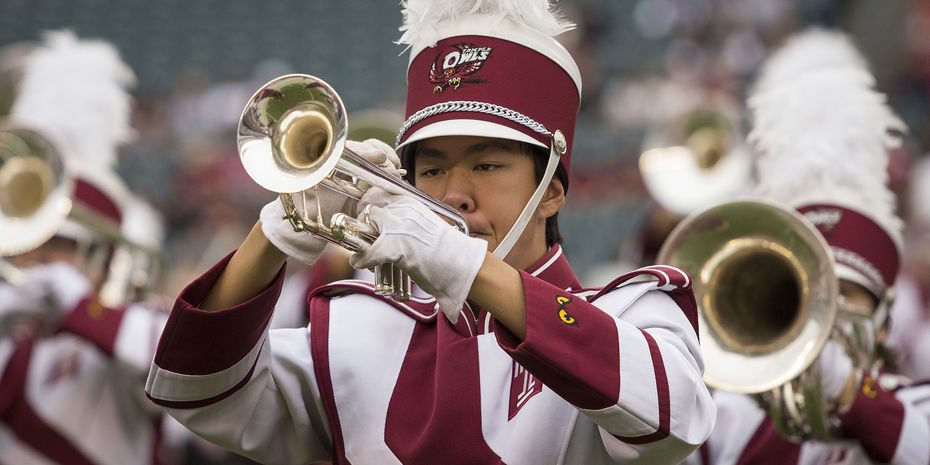 the Temple Marching Band performing.