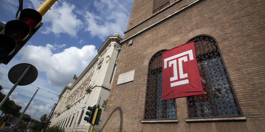 """Temple """"T"""" flag flying on the Rome campus."""