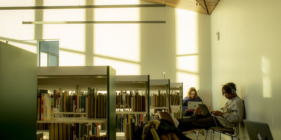 students studying quietly in the Charles Library.