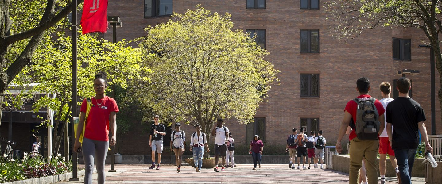 Students walking across Main Campus on a sunny day