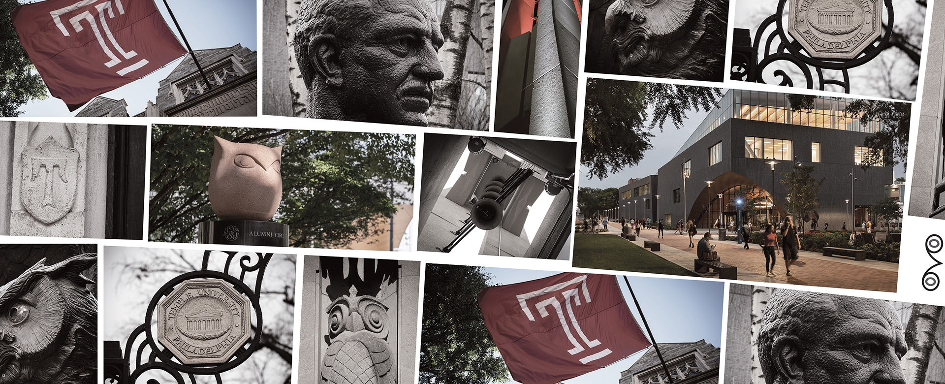 A mosaic of various Temple University landmarks, including the Bell Tower and statue of Russell Conwell.