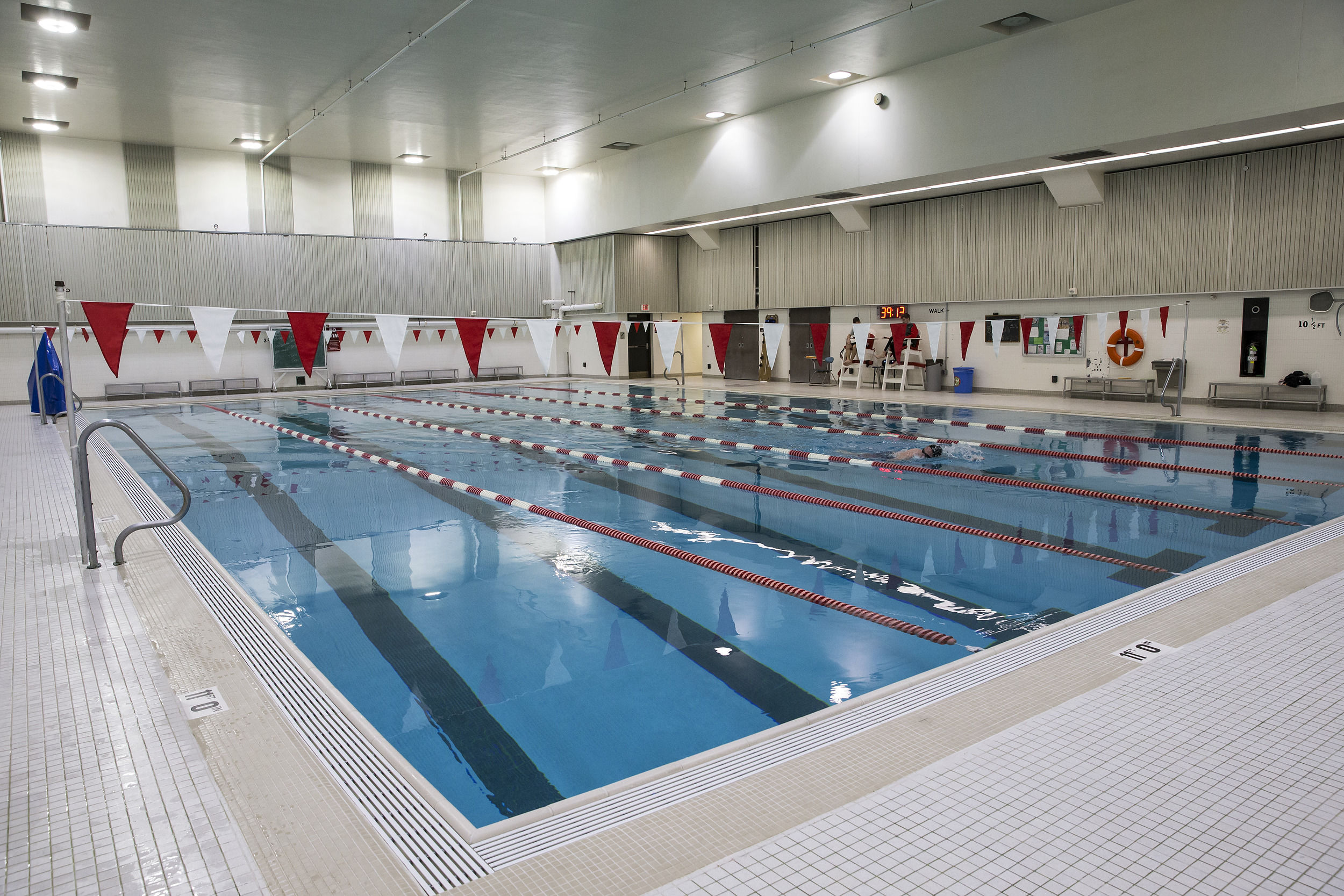 swimming pool in the basement of Pearson and McGonigle Halls.