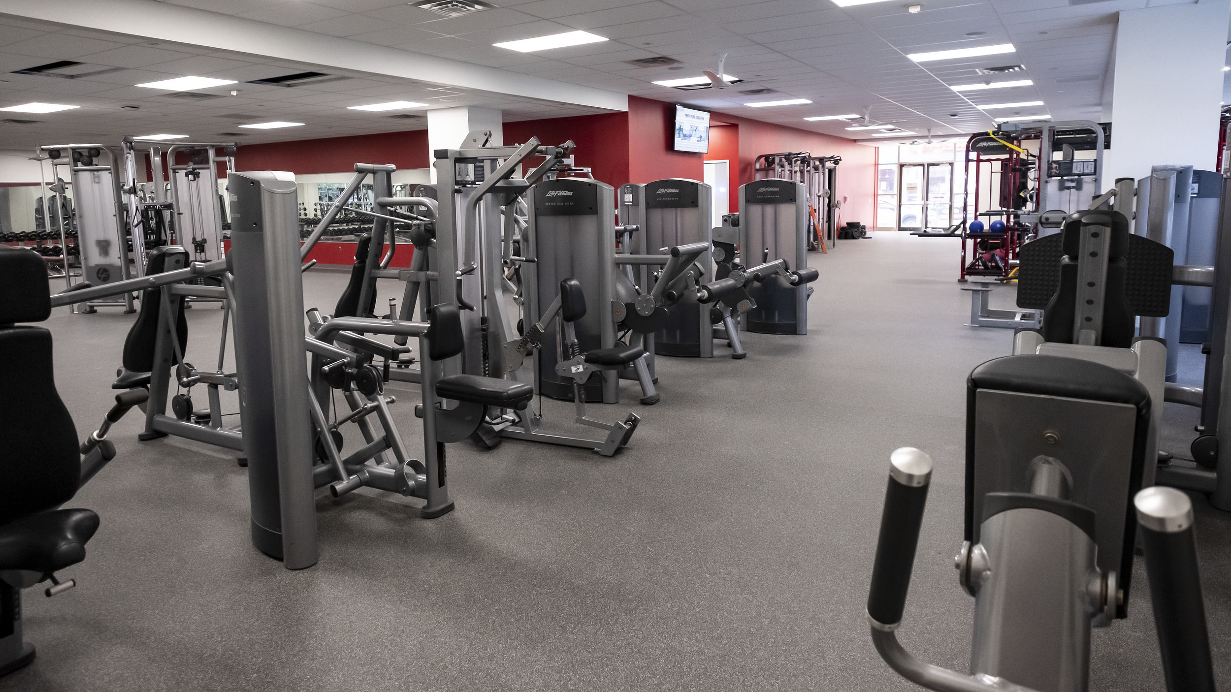newly renovated IBC Student Recreation Center weight lifting stations.