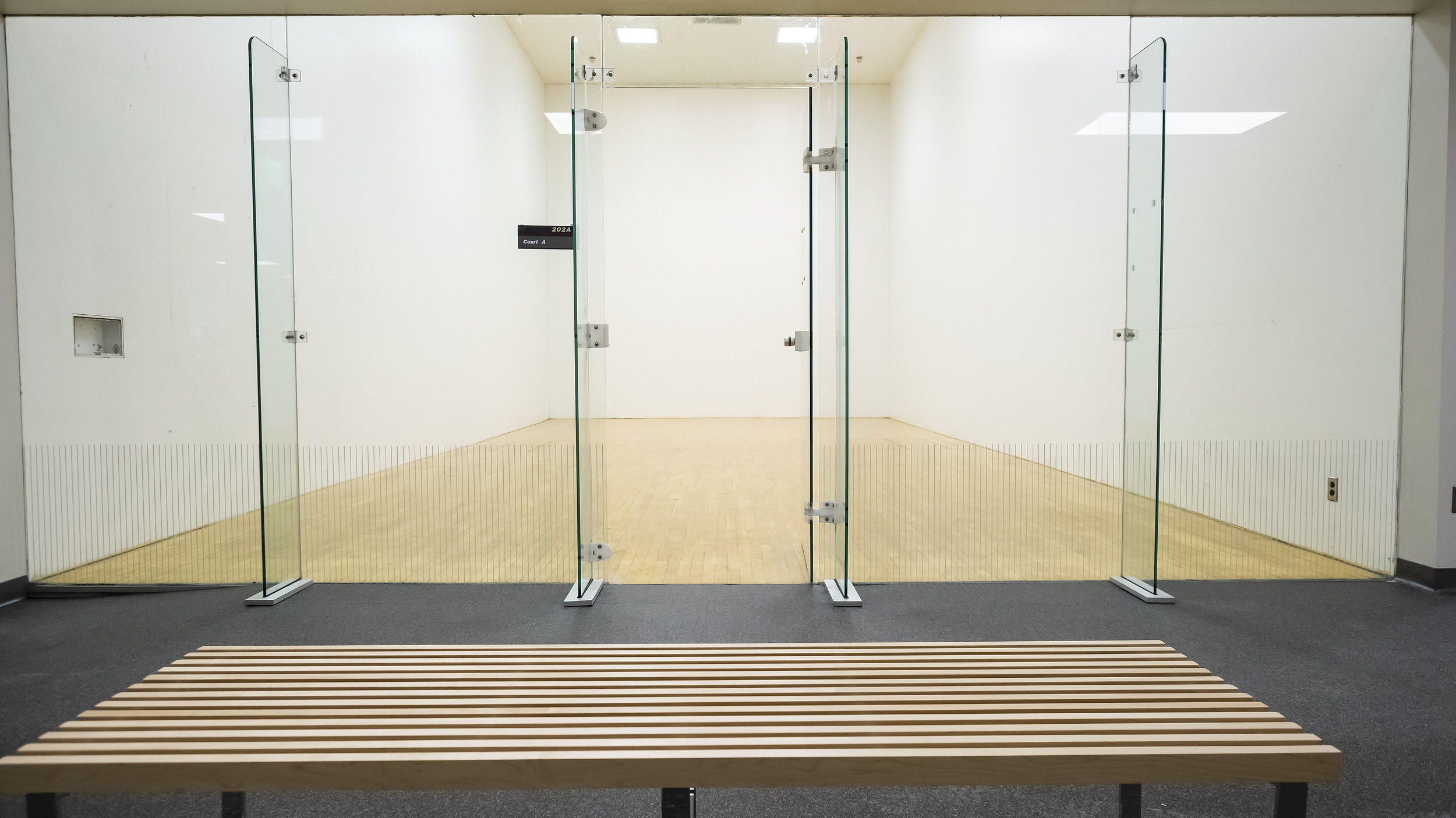 newly renovated racquetball court in the IBC Student Recreation Center.