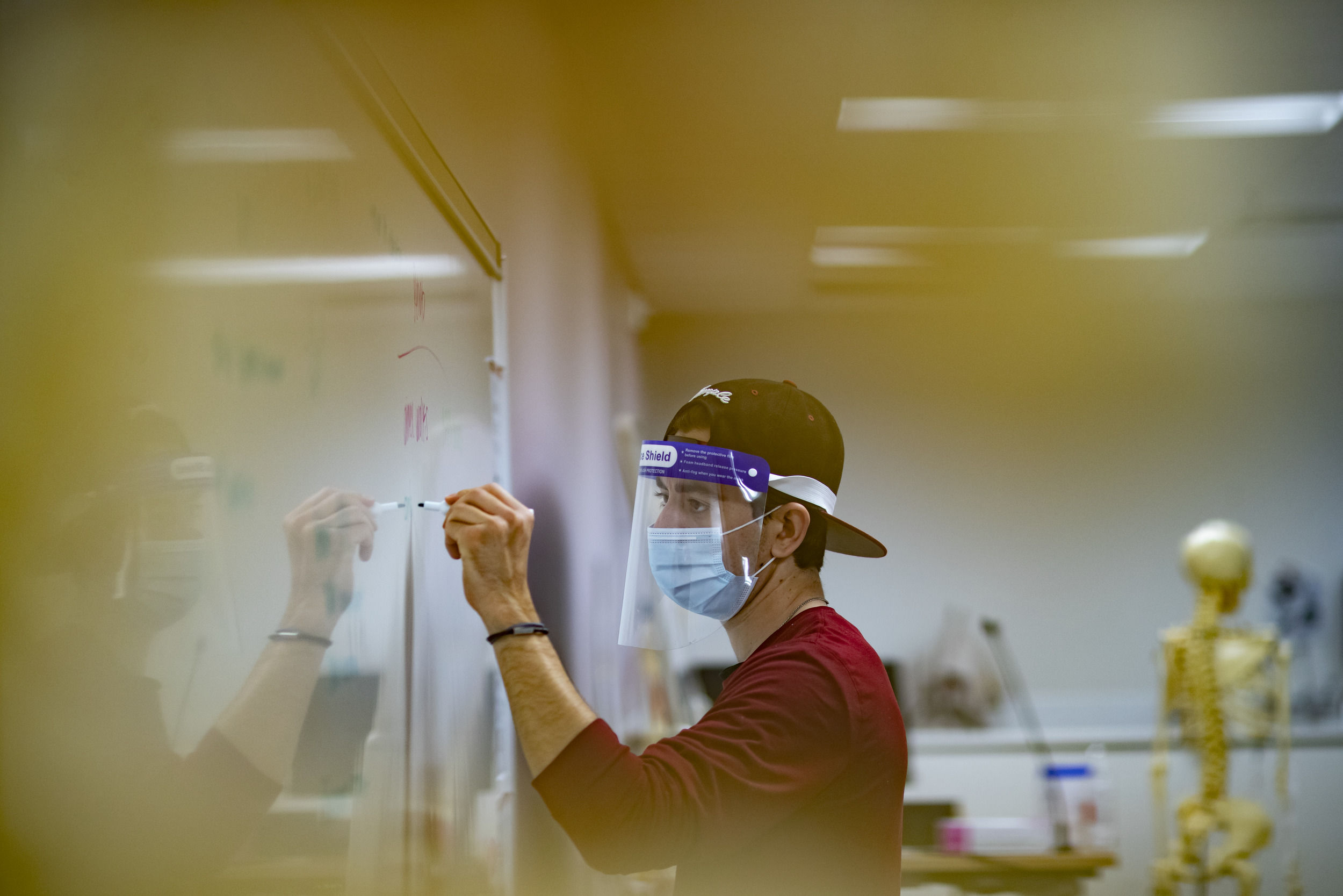 A College of Public Health student writes on a white board during an athletic training class.
