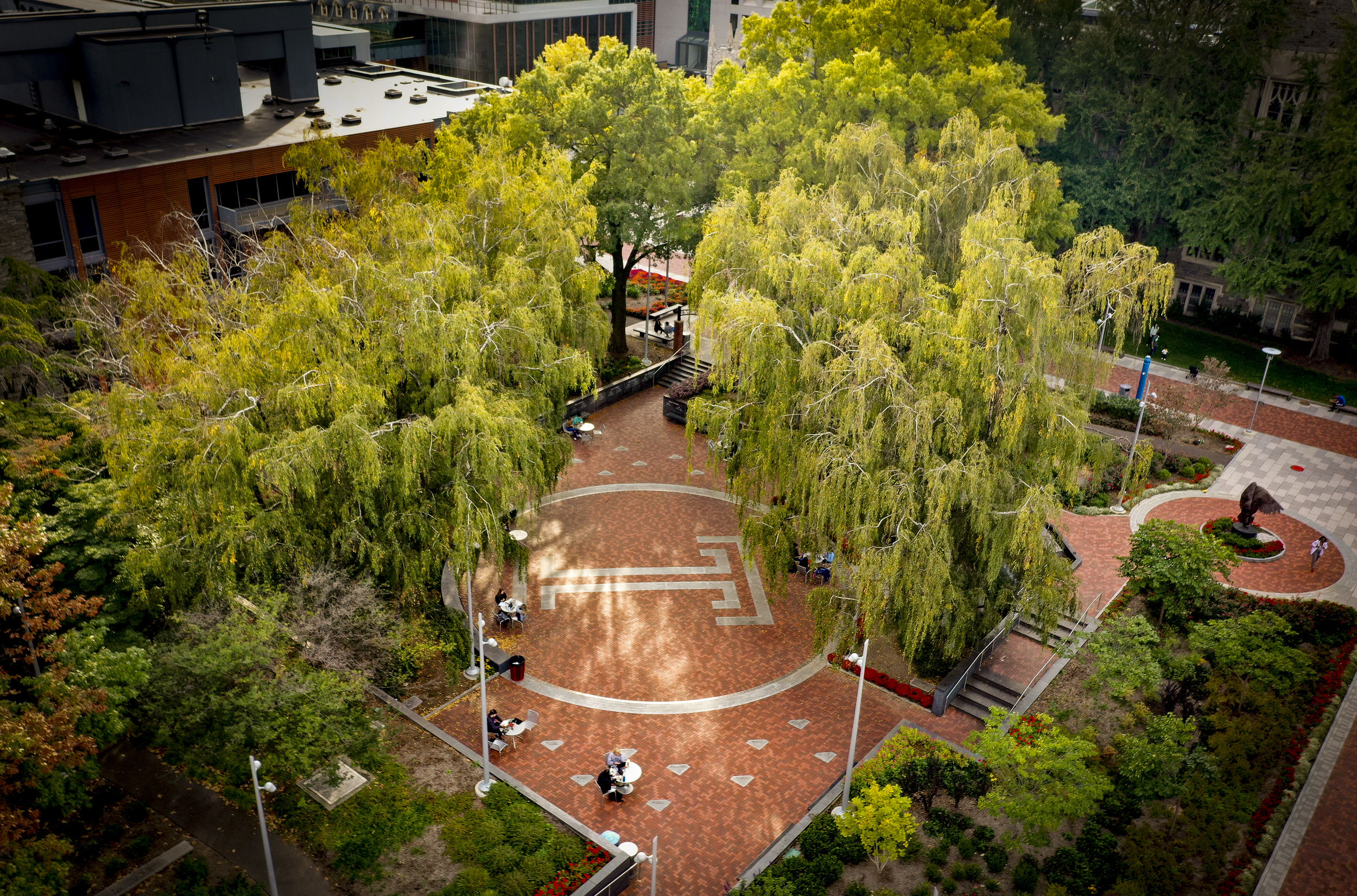 An aerial shot of O'Connor Plaza.