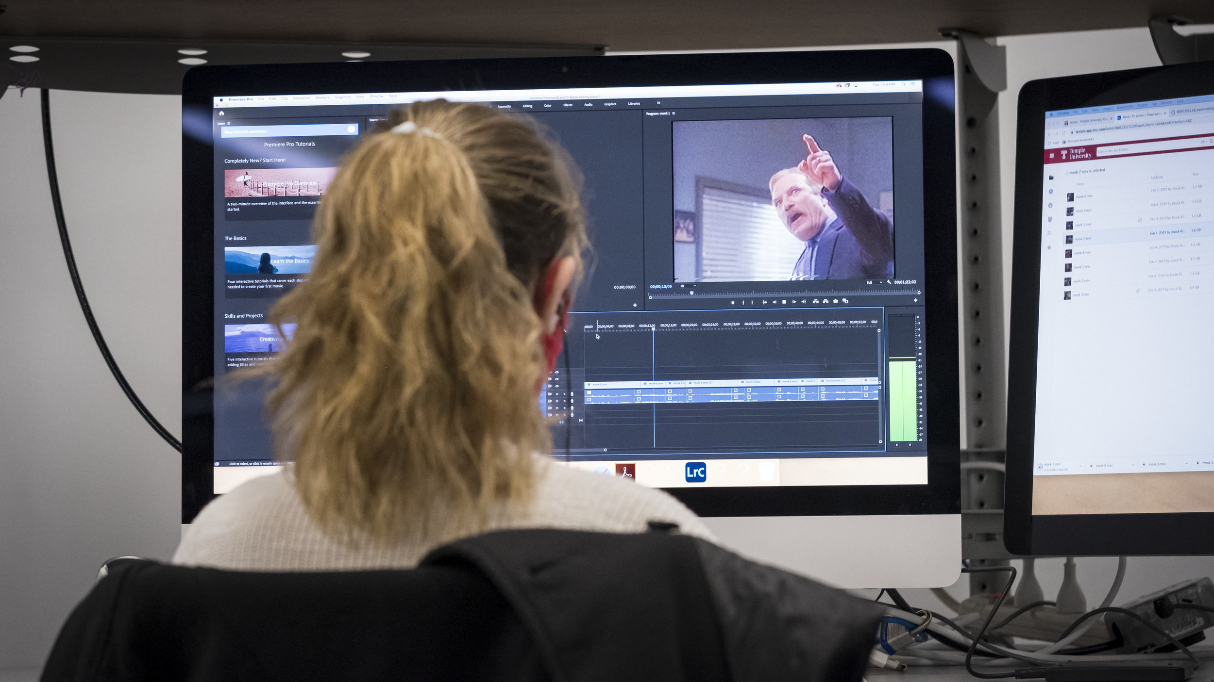 A virtual lesson is underway for a Temple student.