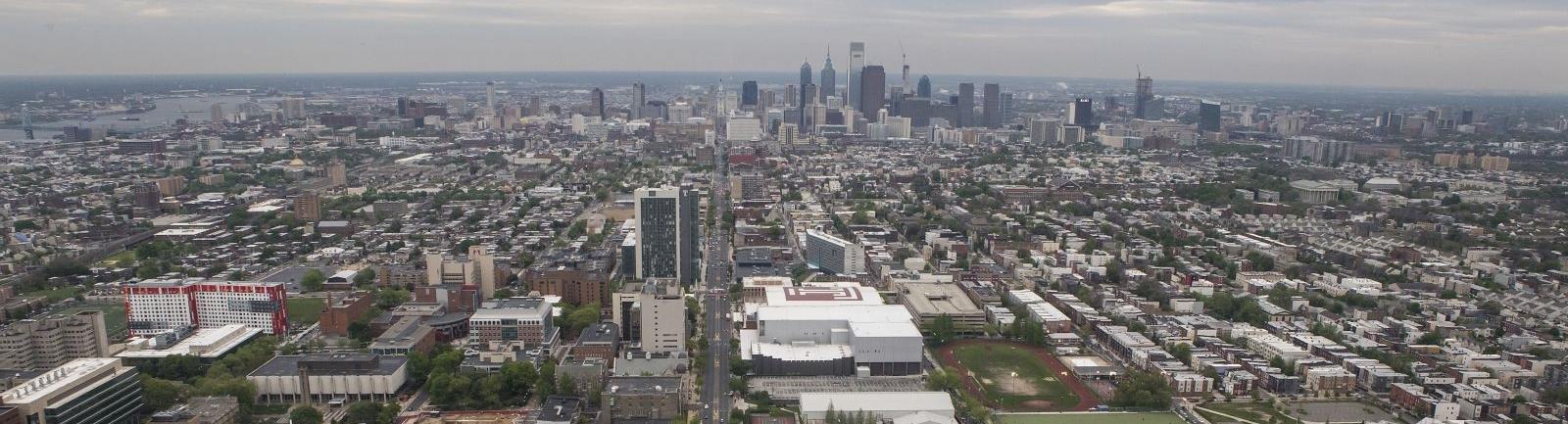 Temple Main Campus with skyline of Philadelphia