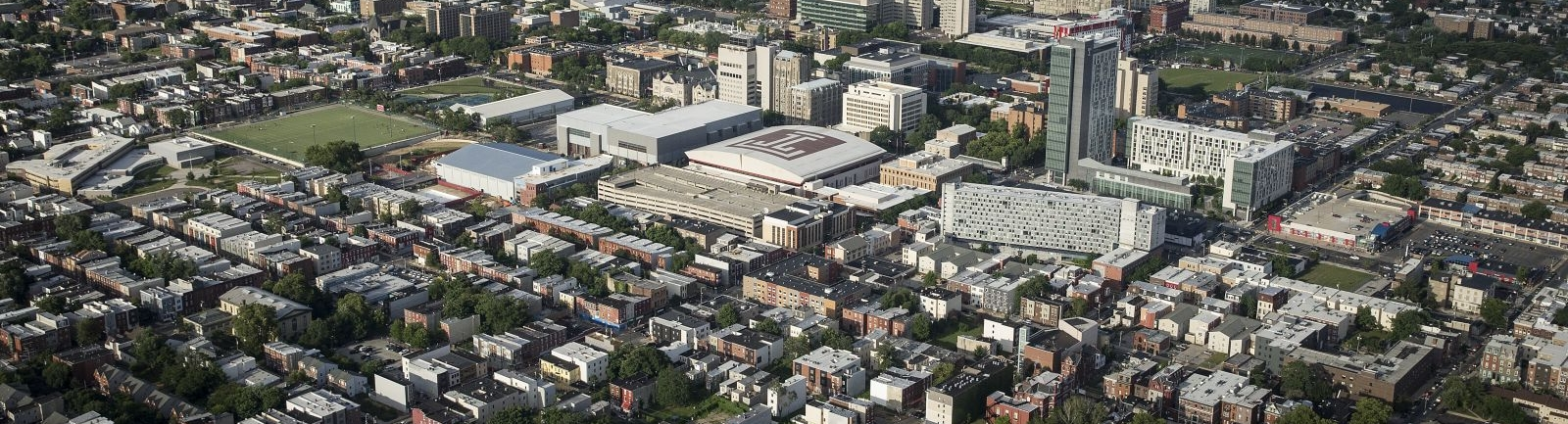 Aerial view of Temple campus with surrounding Philadelphia cityscape