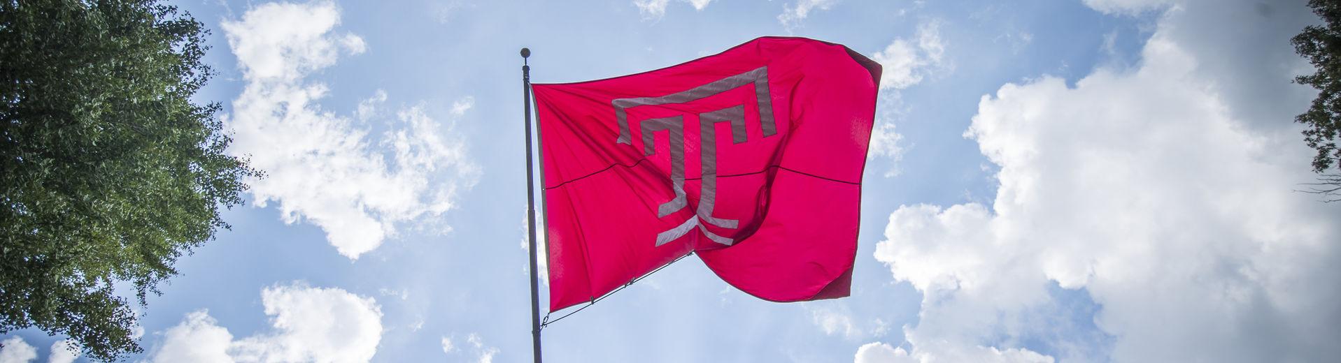 "Temple ""T"" flag flying from Sullivan."