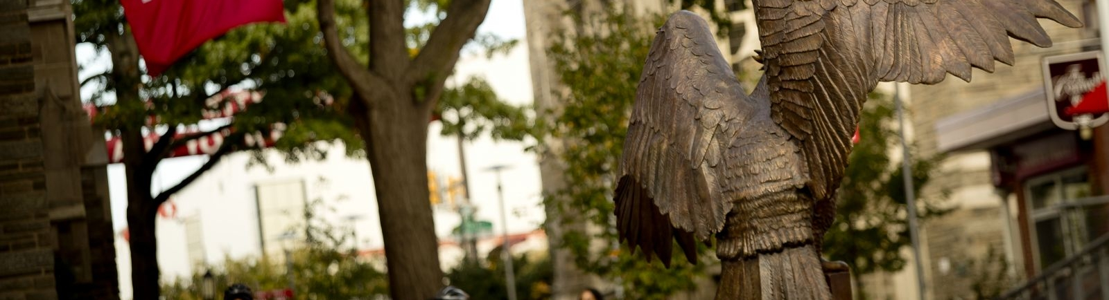 Owl statue in O'Connor Plaza on Temple Main Campus