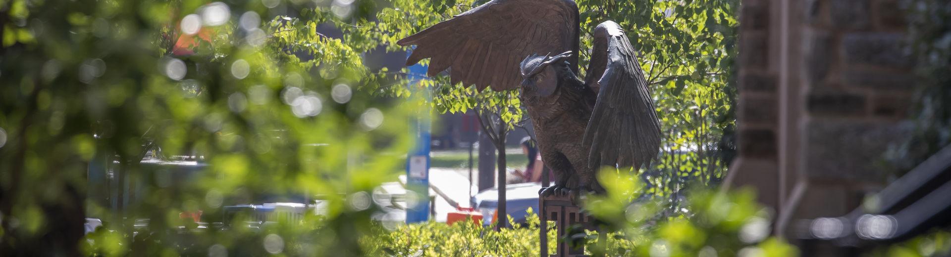 Temple University owl sculpture on Main Campus in Philadelphia