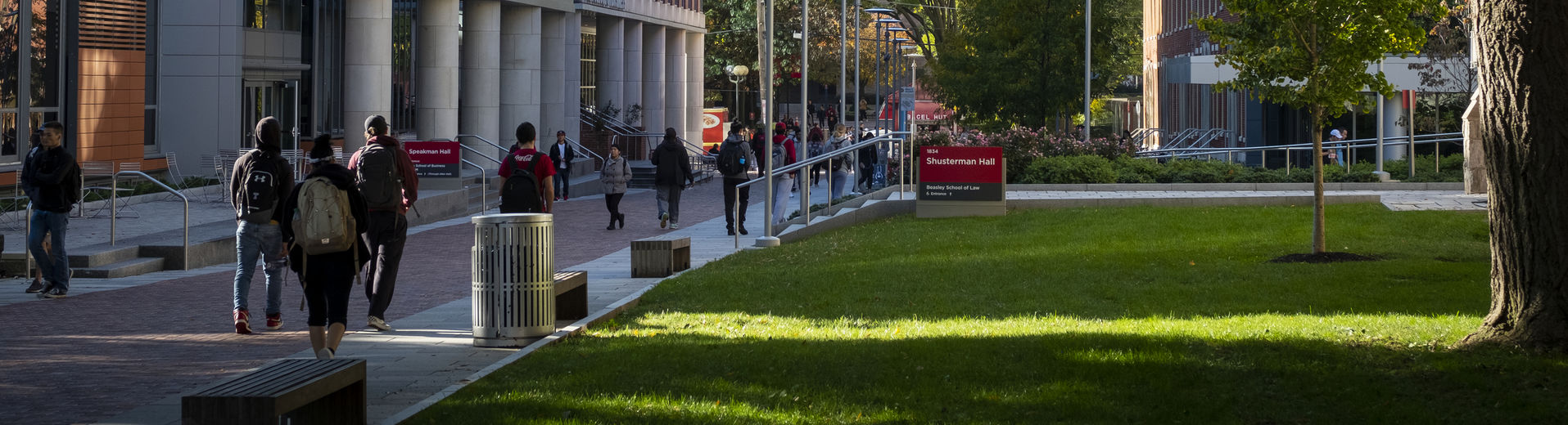 students walking on main campus