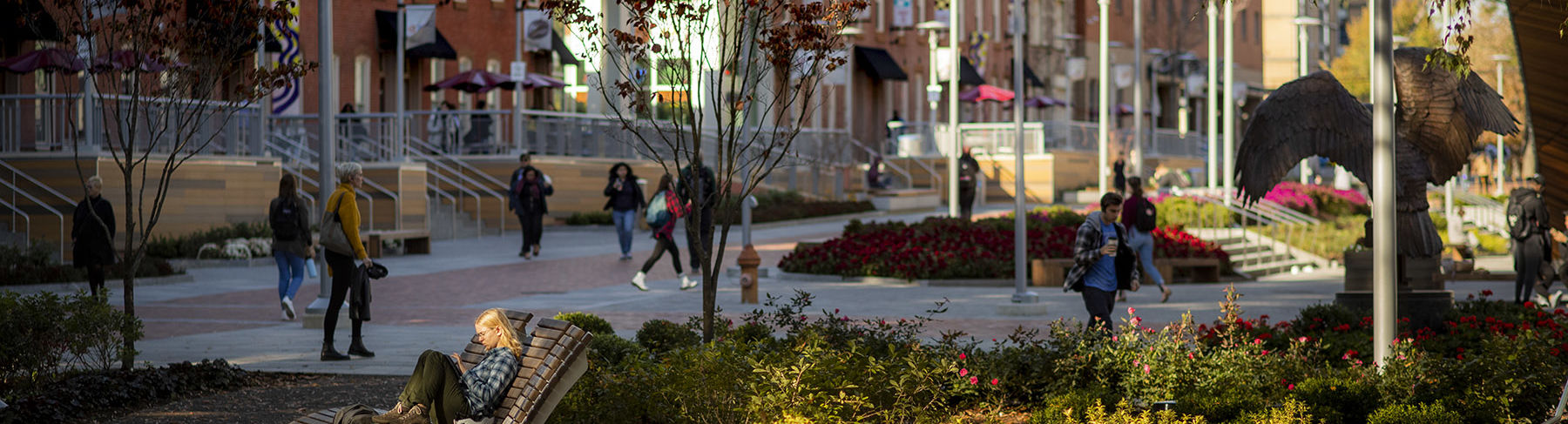Students on Liacouras Walk between classes on Main Campus