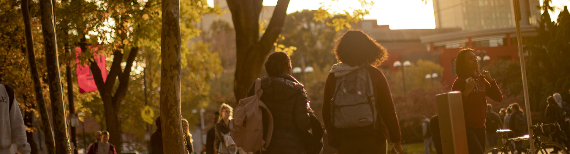 students walking across campus as the sun sets.