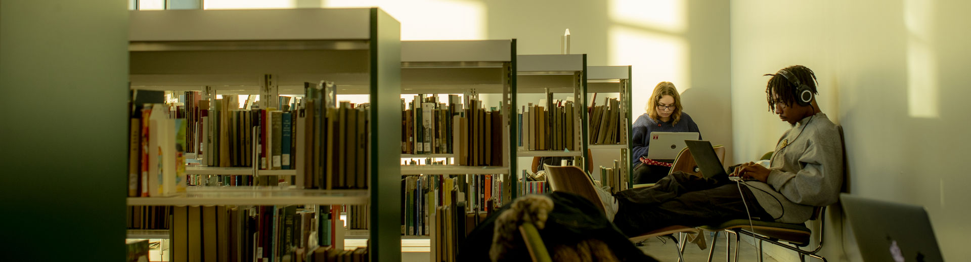 students studying quietly at Charles Library.