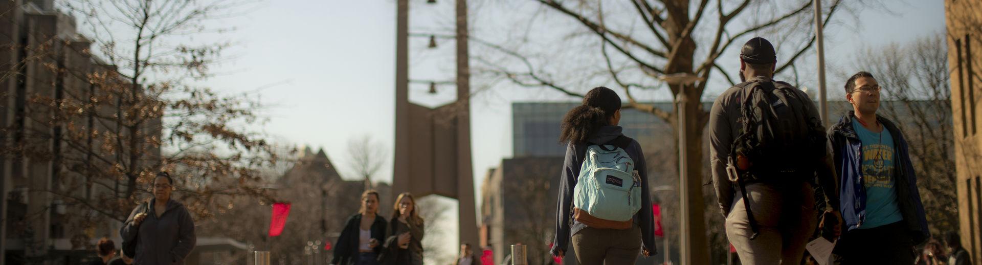 Students on Polett Walk on Main Campus