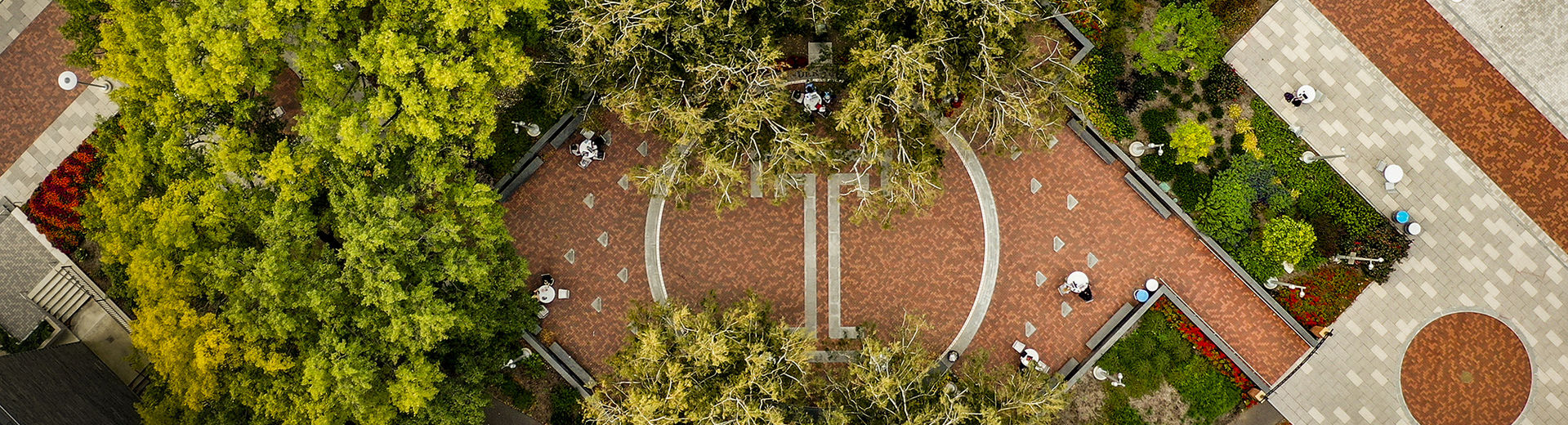 An overhead image of O'Connor Plaza on Main Campus