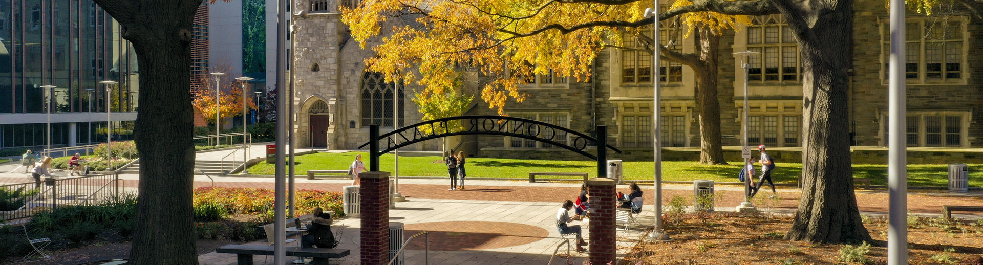 Students gathered in O'Connor Plaza on a sunny fall day