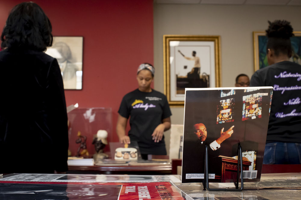 A student examining Martin Luther King work at the Blockson Collection.