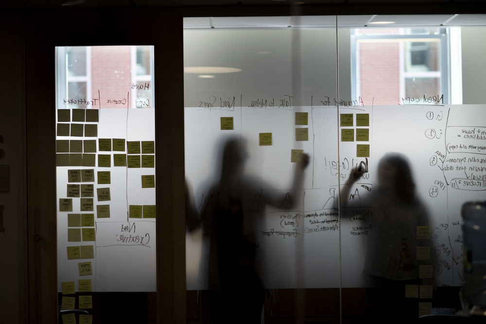 Outline of students studying with sticky notes.
