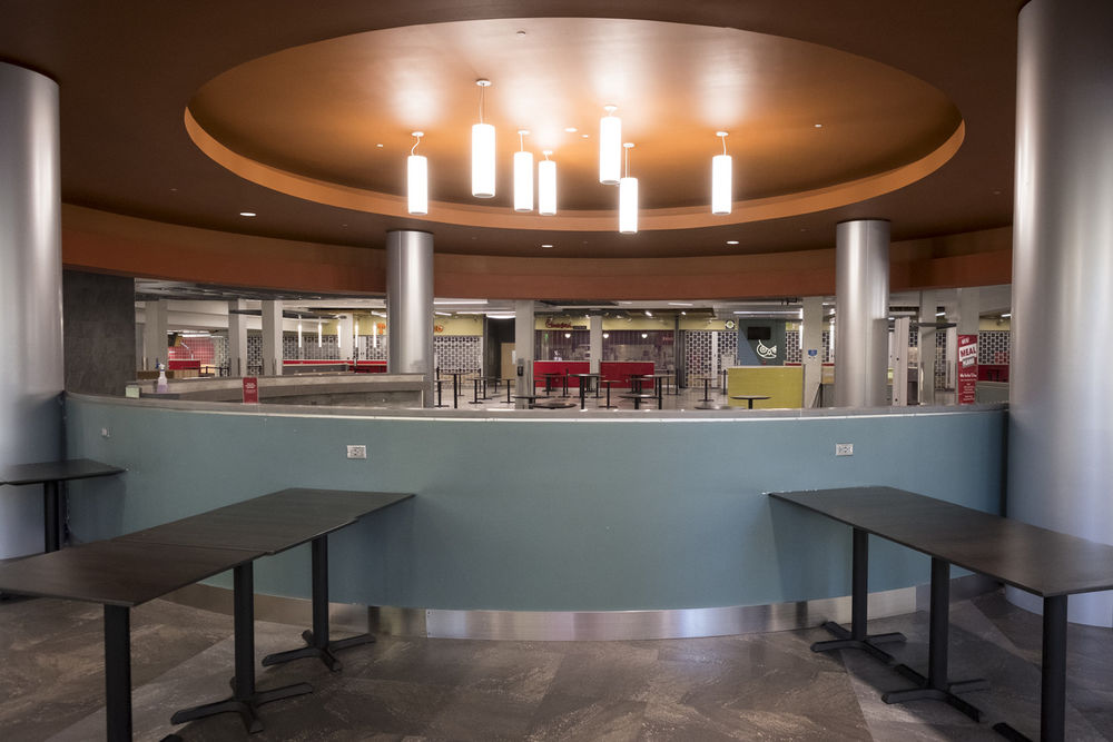 Tables and food stations inside the Howard Gittis Student Center Food Court