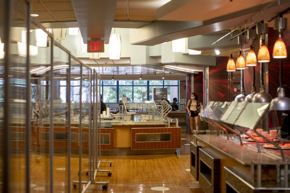 Food stations inside the Esposito Dining Center.